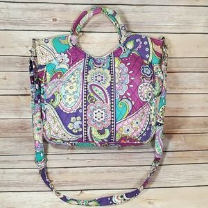 Vera Bradley Heather Two Way Large Tote Retired Travel Bag Purse Button Zipper